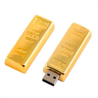 """USB-Flash накопитель (флешка) """"Слиток золота""""  2 Gb, в подарочной упаковке"""