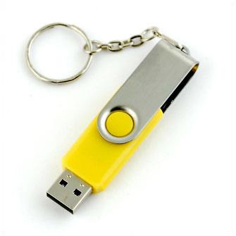 """USB-Flash накопитель - брелок (флешка) """"HIT"""",  4 Gb, в металлическом корпусе с пластиковыми вставками, желтый"""