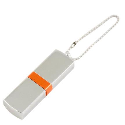 """USB-Flash накопитель (флешка) """"GLOSS"""" на цепочке, с металлическим корпусом и цветной полосой по середине,  4 Gb, оранжевый"""
