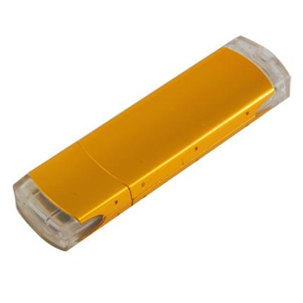 """USB-Flash накопитель (флешка) """"ORDO"""",  4 Gb, алюминиевый корпус, пластиковые вставки, золотой"""
