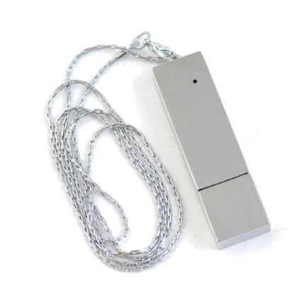 """USB-Flash накопитель (флешка) """"BRICK"""", 32 Gb, металлический корпус, зеркальный хром, серебристый глянец, длинная цепочка"""
