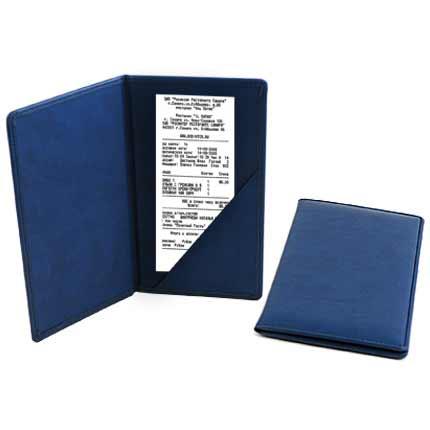 Папка для чеков, синяя. Натуральная кожа