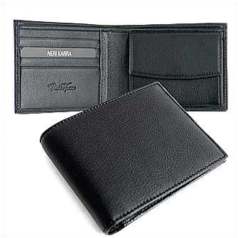 Бумажник мужской Neri Karra с отделением для монет, черный. Корпоративная коллекция
