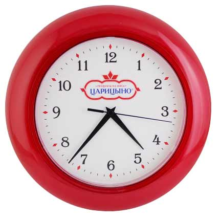 Часы настенные пластиковые, модель 07, диаметр 300 мм, стекло пластиковое, кольцо - прозрачный красный пластик