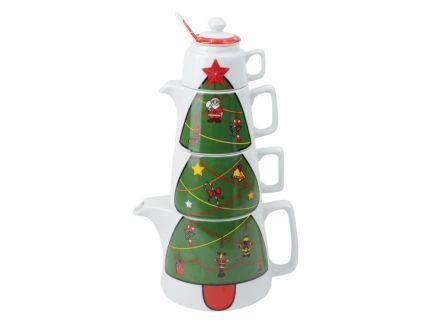 Набор «Новогоднее чаепитие»: чайник на 800 мл, чашка на 300 мл, сахарница, сливочник, ложка
