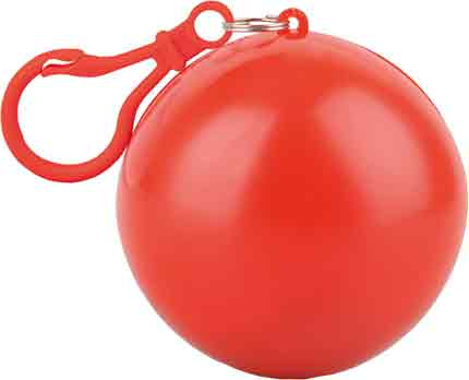 Дождевик в футляре в форме шара с карабином, единый размер. Дождевик - полупрозрачный, футляр с карабином - красные