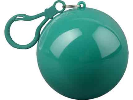 Дождевик в футляре в форме шара с карабином, единый размер. Дождевик - полупрозрачный, футляр с карабином - зелёные