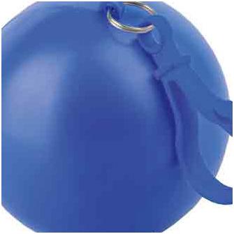 Дождевик в футляре в форме шара с карабином, единый размер. Дождевик - полупрозрачный, футляр с карабином - синие