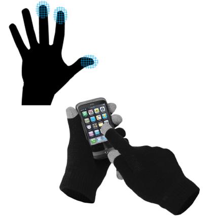 Перчатки для сенсорных экранов, однотонные, чёрные
