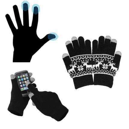 Перчатки для сенсорных экранов, с орнаментом, чёрные