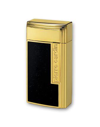 """Зажигалка """"Pierre Cardin"""" для сигар с гильотиной, газовая турбо, цвет черный лак с золотом"""