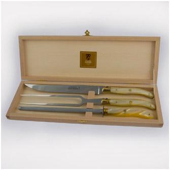 Набор для приготовления мяса из 3 предметов в подарочной коробке, ручки светлые