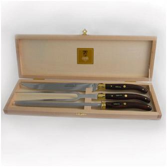 Набор для приготовления мяса из 3 предметов в подарочной коробке, ручки тёмные