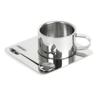 Набор для эспрессо на одну персону: чашка 0,1л, блюдце и ложка ( металл)