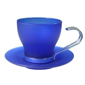 Кофейная пара стеклянная матовая синяя, 105 мл, металлическая ручка